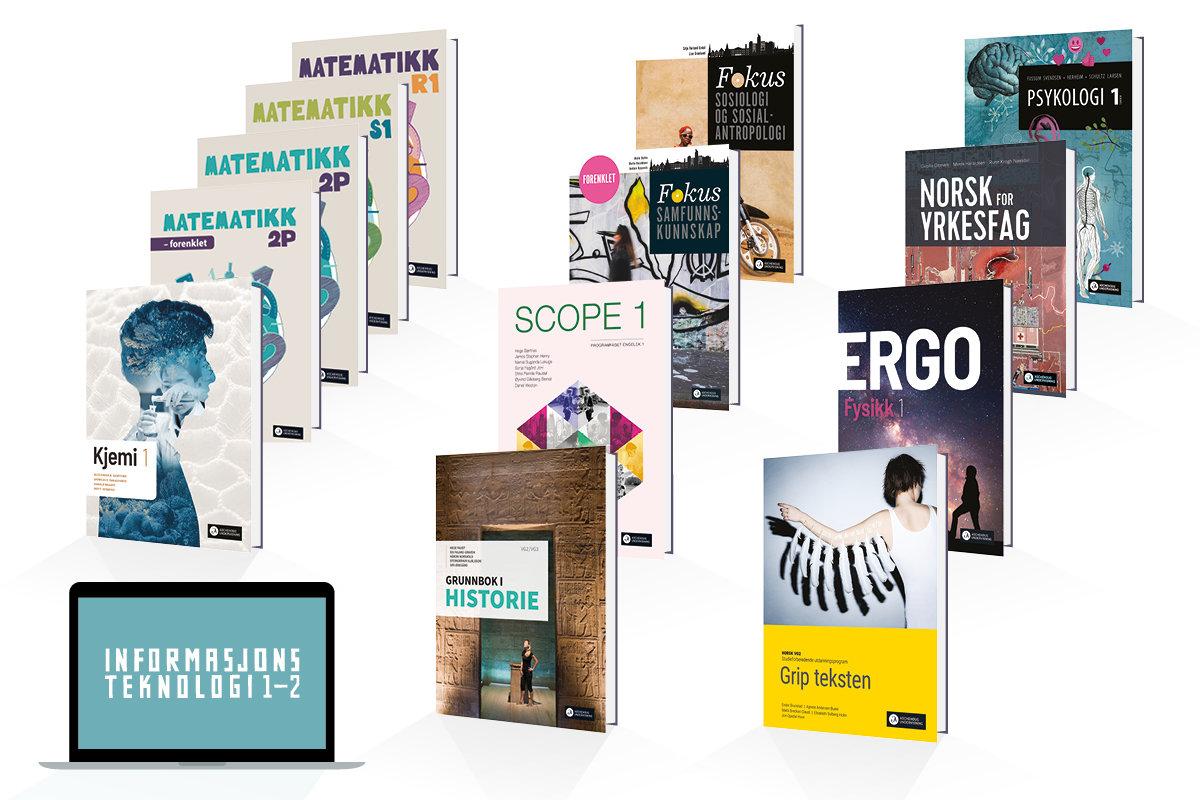 Bilder av bøker for videregående som utgis i 2021